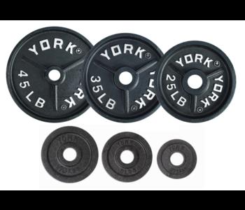 York Deep Dish Cast Iron Olympic Weight Set, 245 lbs
