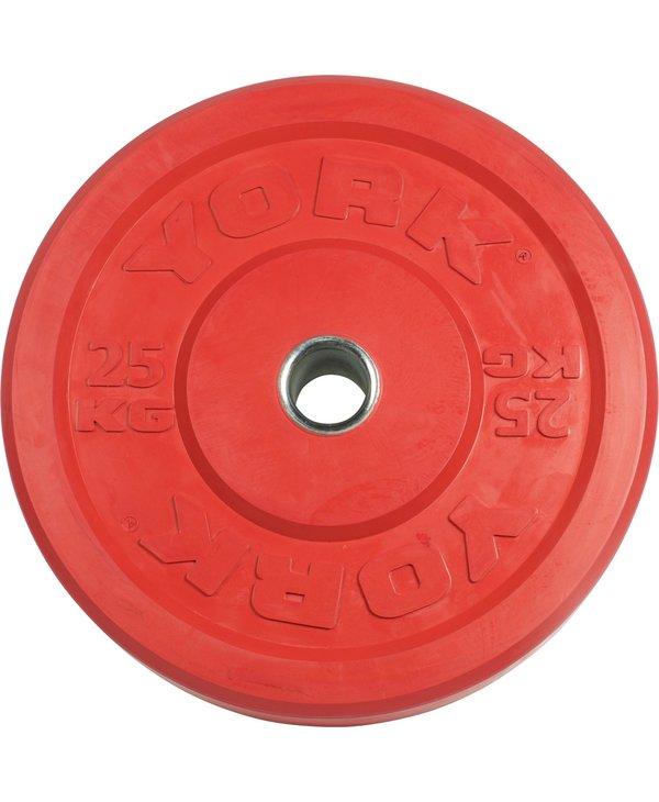 York Coloured Rubber Training Bumper Plates, KG, Pair
