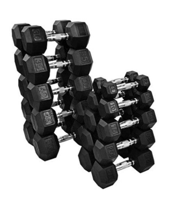 GC Rubber Hex Dumbbell Set 5-50lb