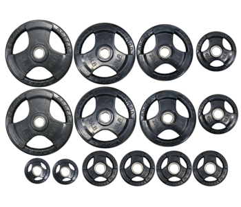 GC Tri-Grip Rubber Olympic Plate Set, 255 lbs