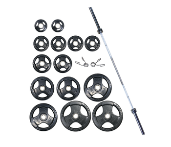 GC Tri-Grip Rubber Olympic Plate Set, 300 lbs