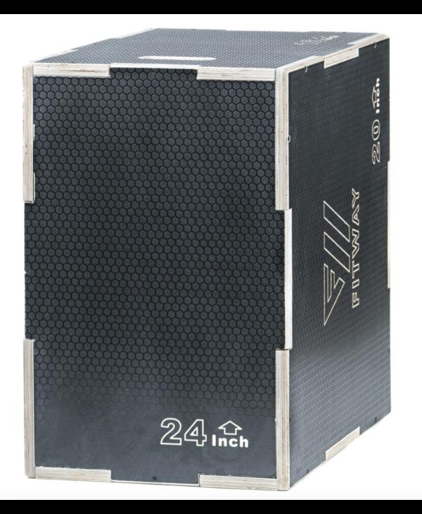 """FitWay 3-in-1 Non-Slip Wood Plyo Box, 16"""" x 20"""" x 24"""""""