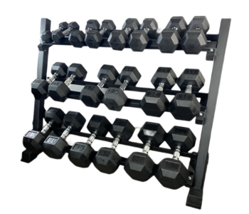GC 5-50lb Rubber Hex Dumbbell Set with Stand