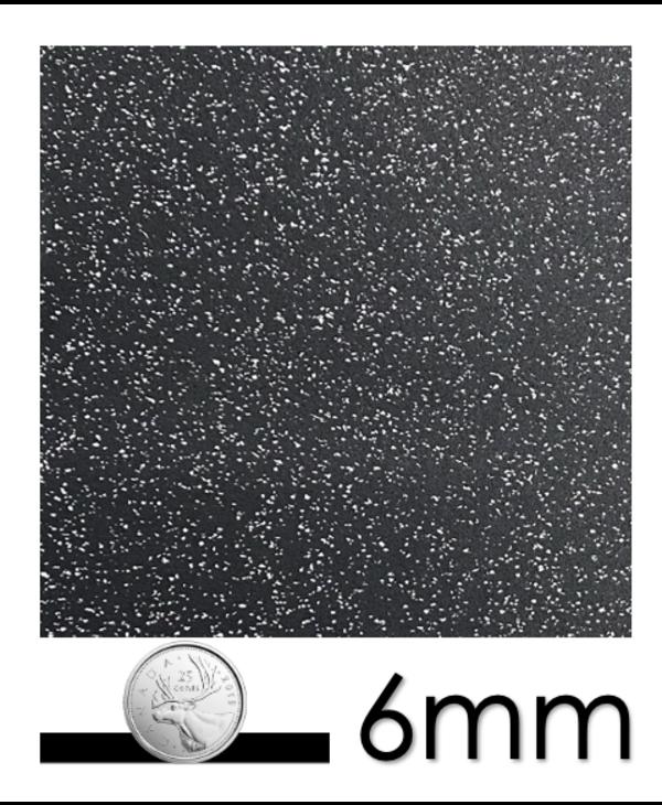 Geniemat Fit06 Rubber Floor Interlocking Tile 23'' x 23'', 6mm, Grey Speckle