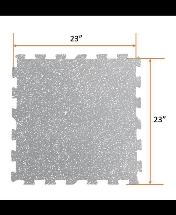 Geniemat Fit08 Rubber Floor Interlocking Tile 23'' x 23'', 8mm, Grey Speckle