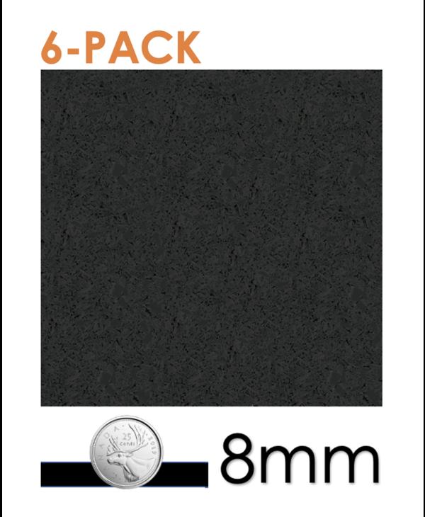 6- pack Ecore Black Interlocking Rubber Tiles, 8mm x 24in x 24in, BORDER