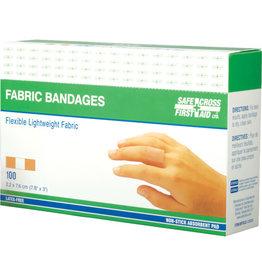 "Safecross Fabric Bandages, 3"" x 3/4"", 100/Box"