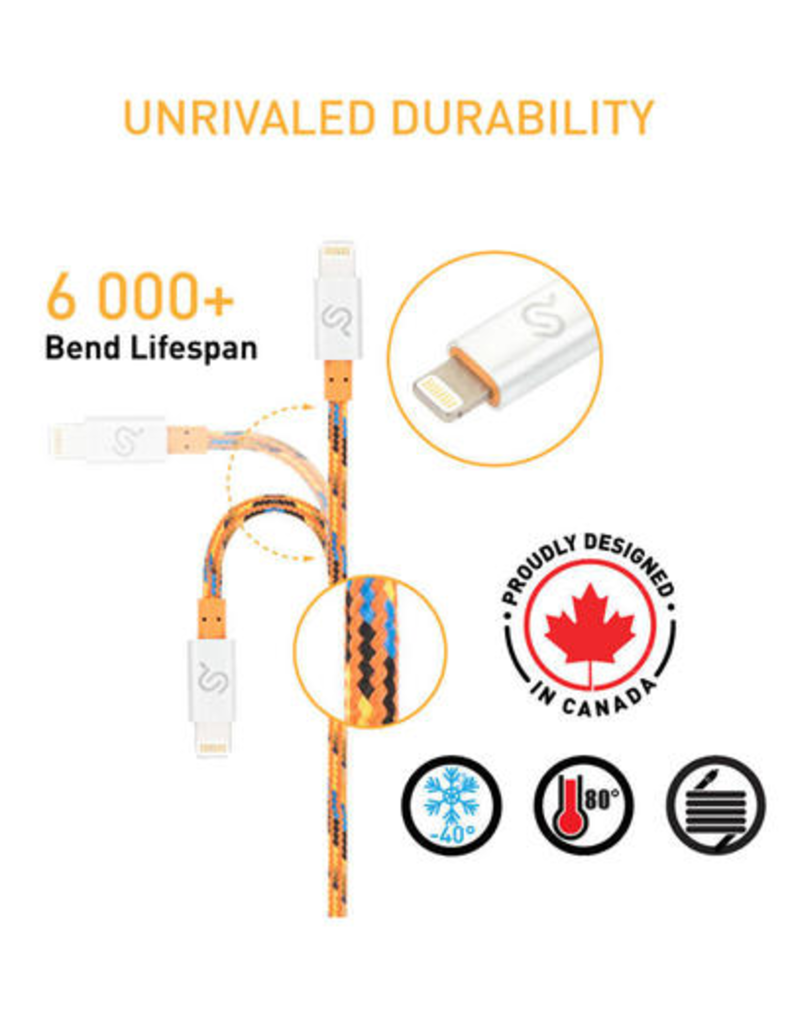 Nylon Braided Lightning Cable Apple MFi Certified For iPhone iPad 3 FT (1m)