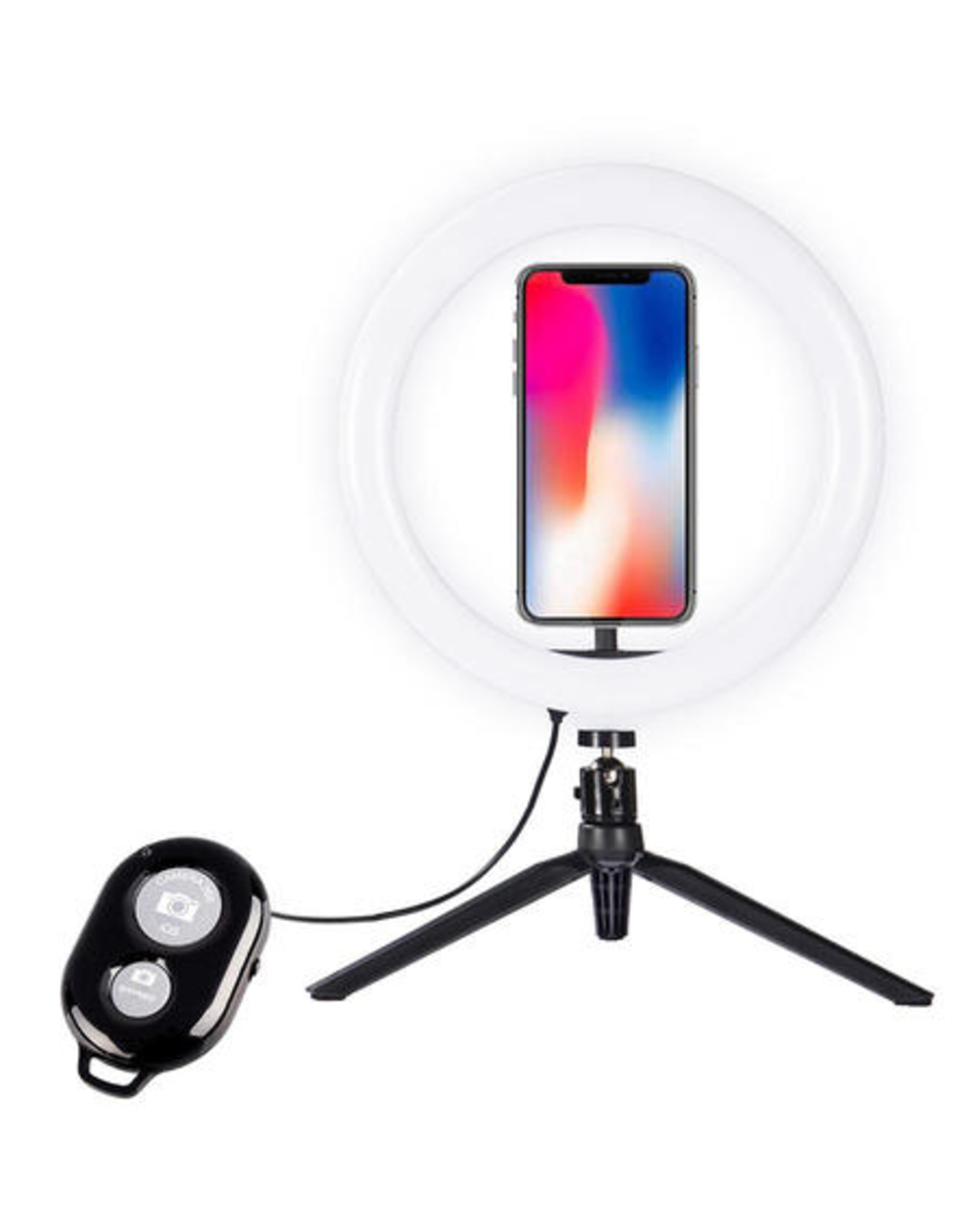 """Desktop Selfie 10"""" Ring Light with Tripod Stand & Phone Holder for Photography Live Streaming"""