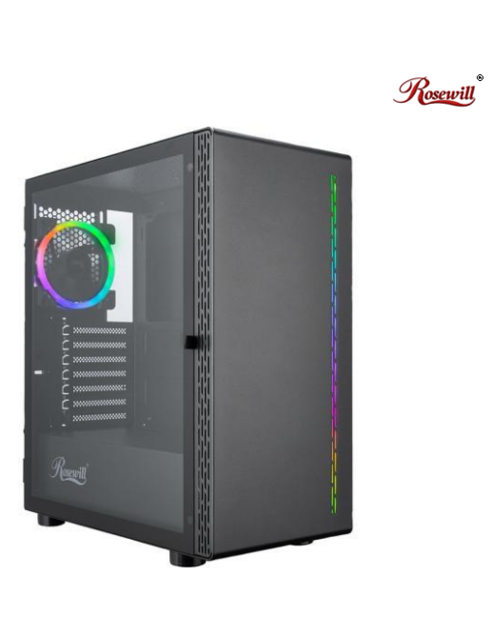Rosewill Rosewill PRISM M ATX Mid Tower Gaming PC Computer Case w/ RGB Fan, 10 Backlit Modes, LED Light Strip Patterned Front Panel, 240mm AIO Support, EATX Support, Bottom Mount PSU & HDD/SSD, Tempered Glass