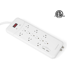 PrimeCables 12 Outlet Surge Protector with 2 USB Charge Ports up to 3.1A  Coaxial Breaker