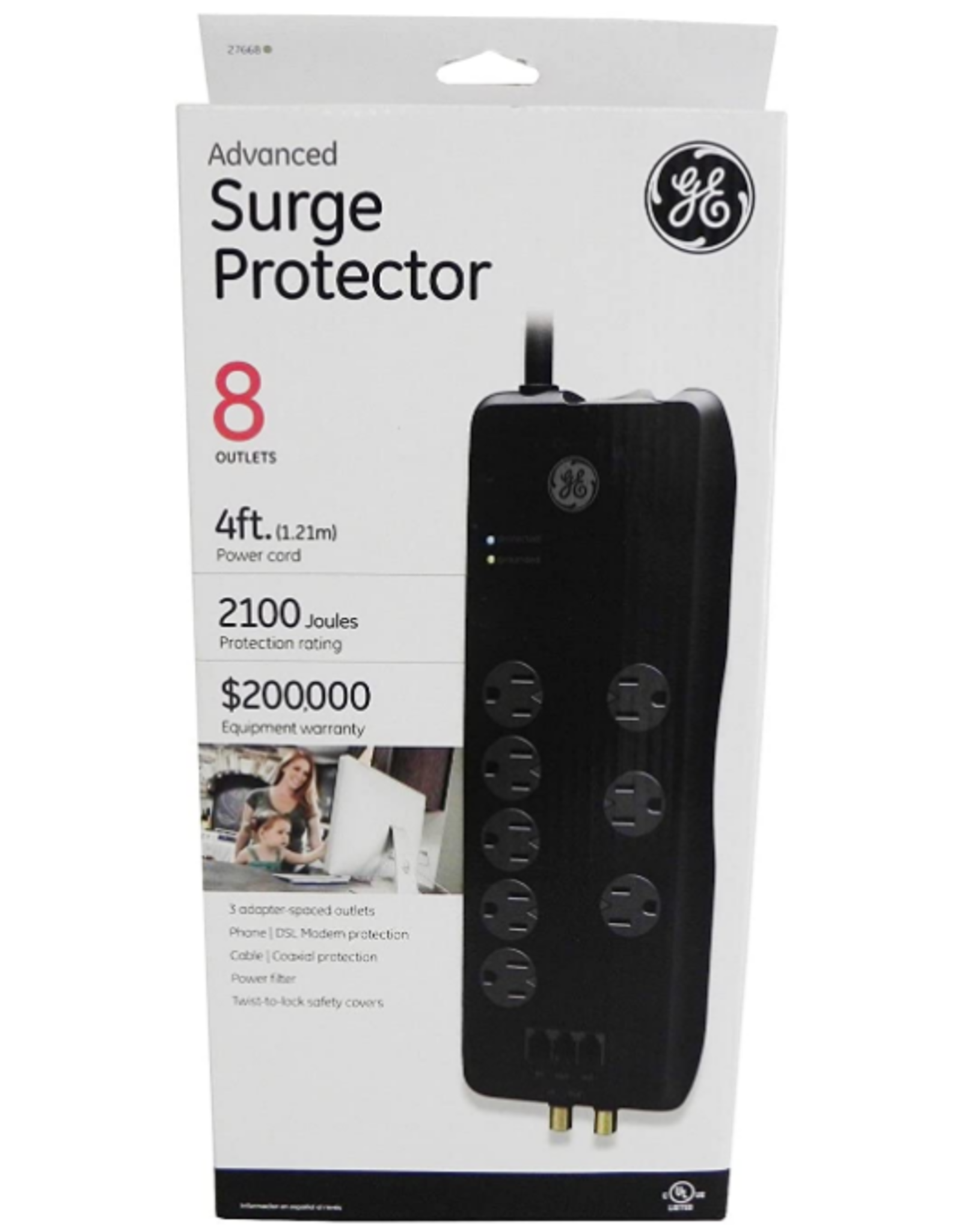 GE GE 8 Outlet Surge Protector, 4FT cord, 2100 Joules, Black