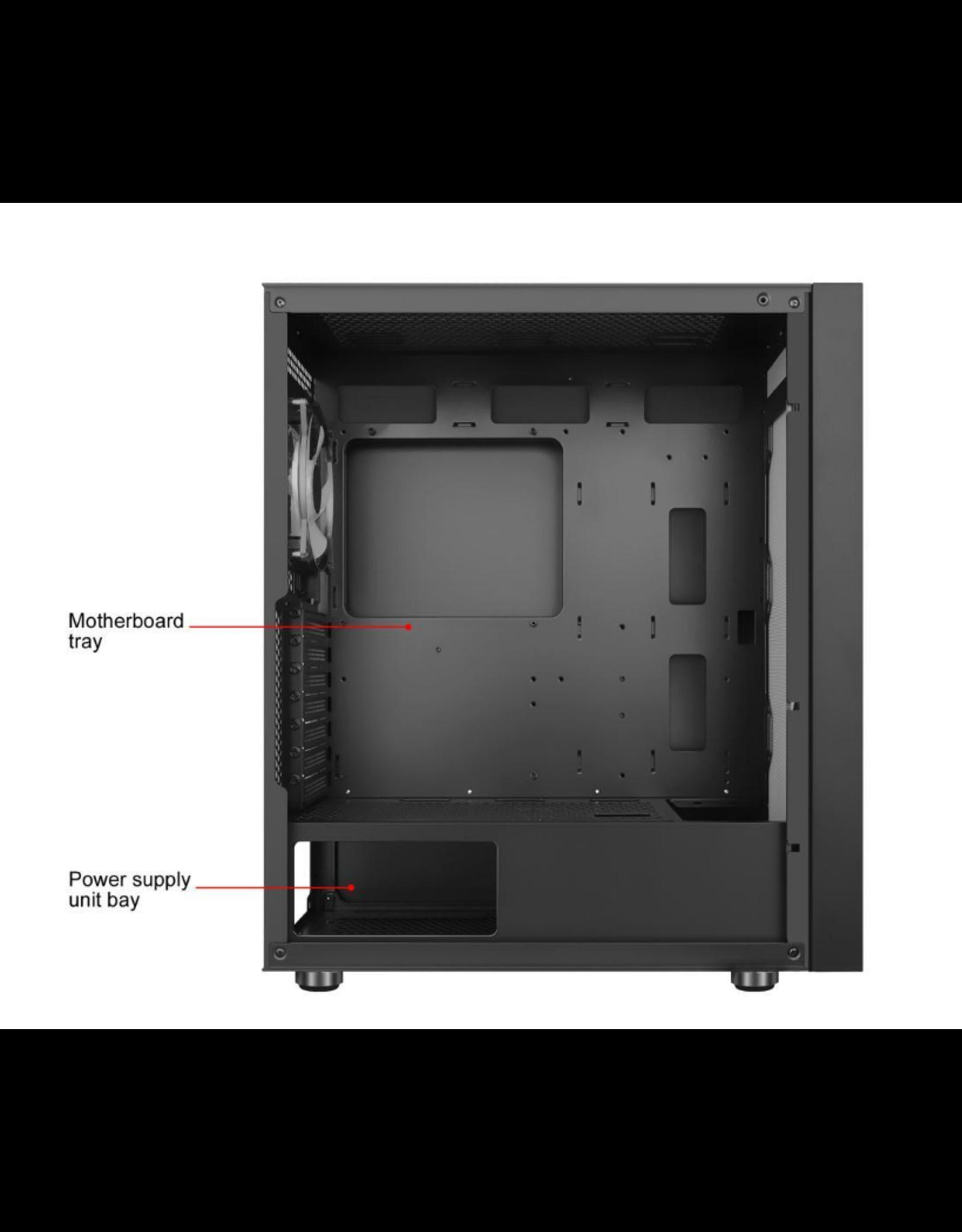DIYPC DIYPC IDX1-BK-ARGB Black Steel / Tempered Glass ATX Mid Tower Computer Case with 1 x 120mm Halo ARGB LED Fan Pre-Installed