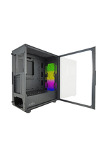 Azza AZZA CELESTA CSAZ-340F Black Steel / Plastic / Tempered Glass ATX Mid Tower Computer Case with Addressable RGB Light Strip in the Front