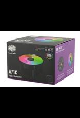 CoolerMaster Cooler Master A71C ARGB CPU Air Cooler for AMD Ryzen, Anodized Black Aluminum Fins, Copper Insert Base, MF120 120m, Addressable RGB Lighting