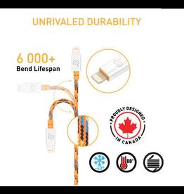 Nylon Braided Lightning Cable Apple MFi Certified For iPhone iPad - 6FT (2m) Orange -