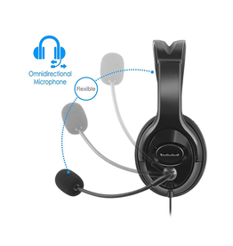 Wired USB 2.0 Stereo Headset with Mic for PC Black