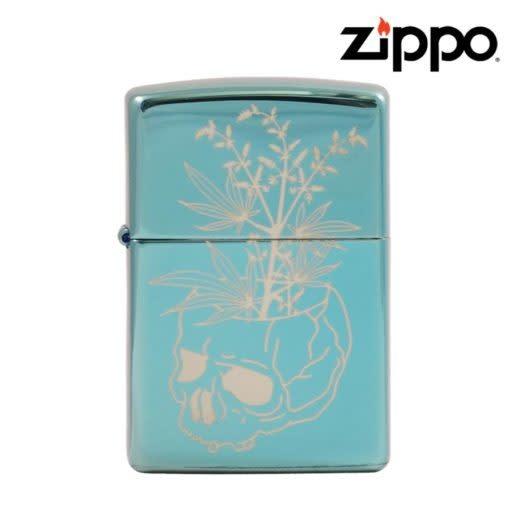 Zippo Zippo - Windproof Lighter  - High Polish Green w/ Engraved Skull Vase