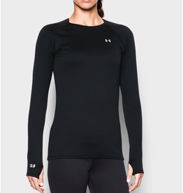UNDER ARMOUR WOMEN'S 2.0 CREW MIDWEIGHT BASELAYER, BLACK, MD