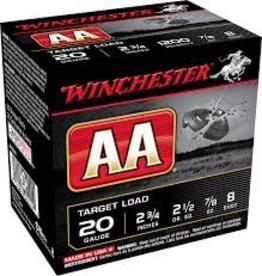 "WINCHESTER WINCHESTER AA 20GA 2 3/4"" - 7/8 OZ 8 RDS"