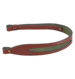 LEVY'S LEATHERS LEVY'S LEATHERS WALNUT COBRA GUN SLING LEATHER W/ SUEDE GREEN INSERT