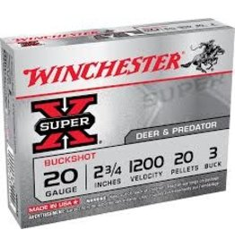 "WINCHESTER WINCHESTER SUPER-X 20GA 2 3/4"" #3 BUCK 5 RDS"