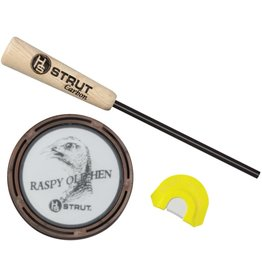 HUNTERS SPECIALTIES HS STRUT RASPY OLD HEN GLASS PAN CALL & DOUBLE REED DIAPHRAGM