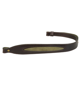 LEVY'S LEATHERS LEVY'S LEATHERS DARK BROWN COBRA GUN SLING LEATHER W/ SUEDE GREEN INSERT