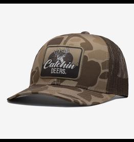 CATCHIN' DEERS CATCHIN' DEERS WALLHANGER HAT ON OLD SCHOOL CAMO