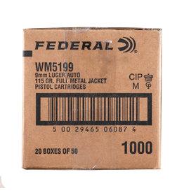 Federal FEDERAL 9MM LUGER 115 GR FMJ BRASS 1000 RDS