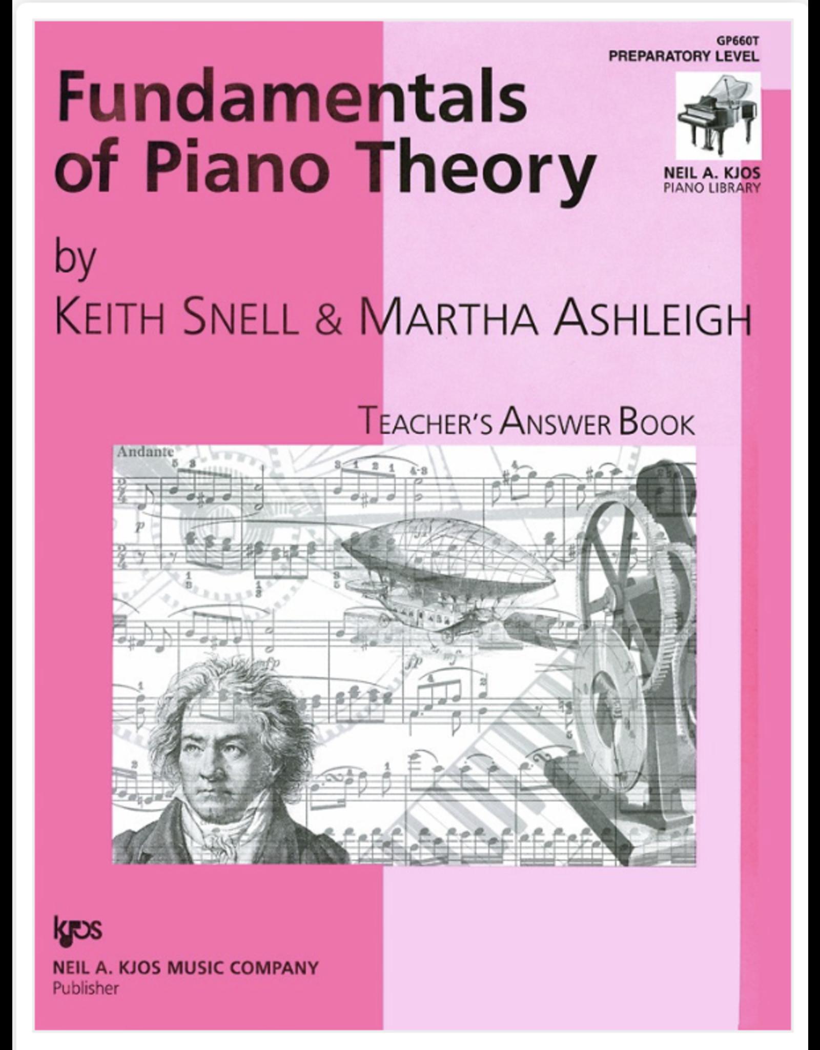 Kjos Fundamentals of Piano Theory, Prep Level Answer Book