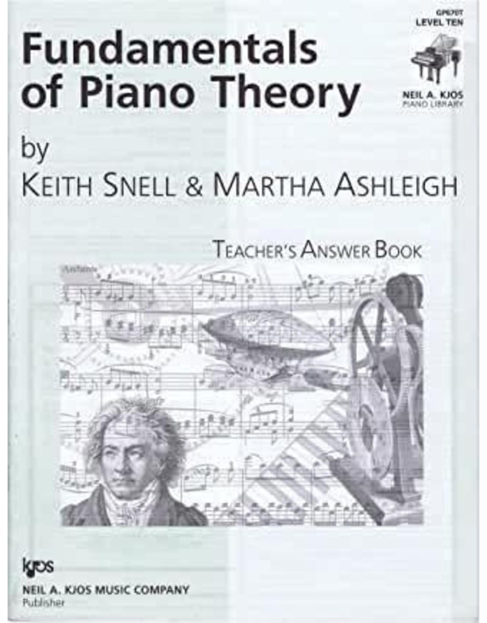 Kjos Fundamentals of Piano Theory, Level 10 Answer Book