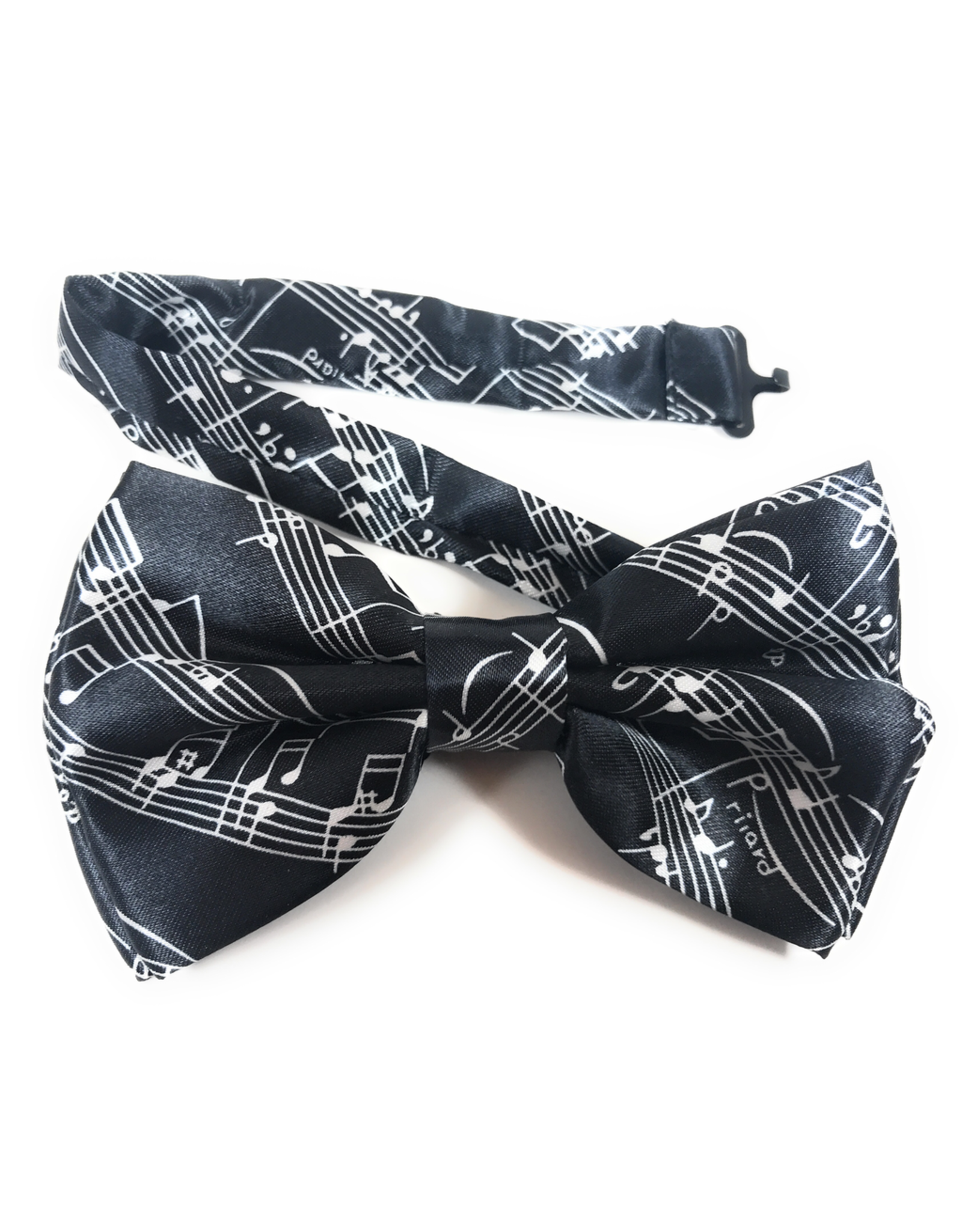 Timeless Collection Black Bow Tie with White Musical Design