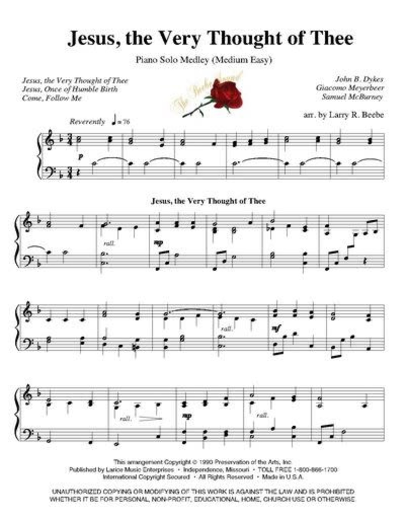 Larice Music Rhapsody of Hymns Volume 1 for Piano arr. Larry Beebe