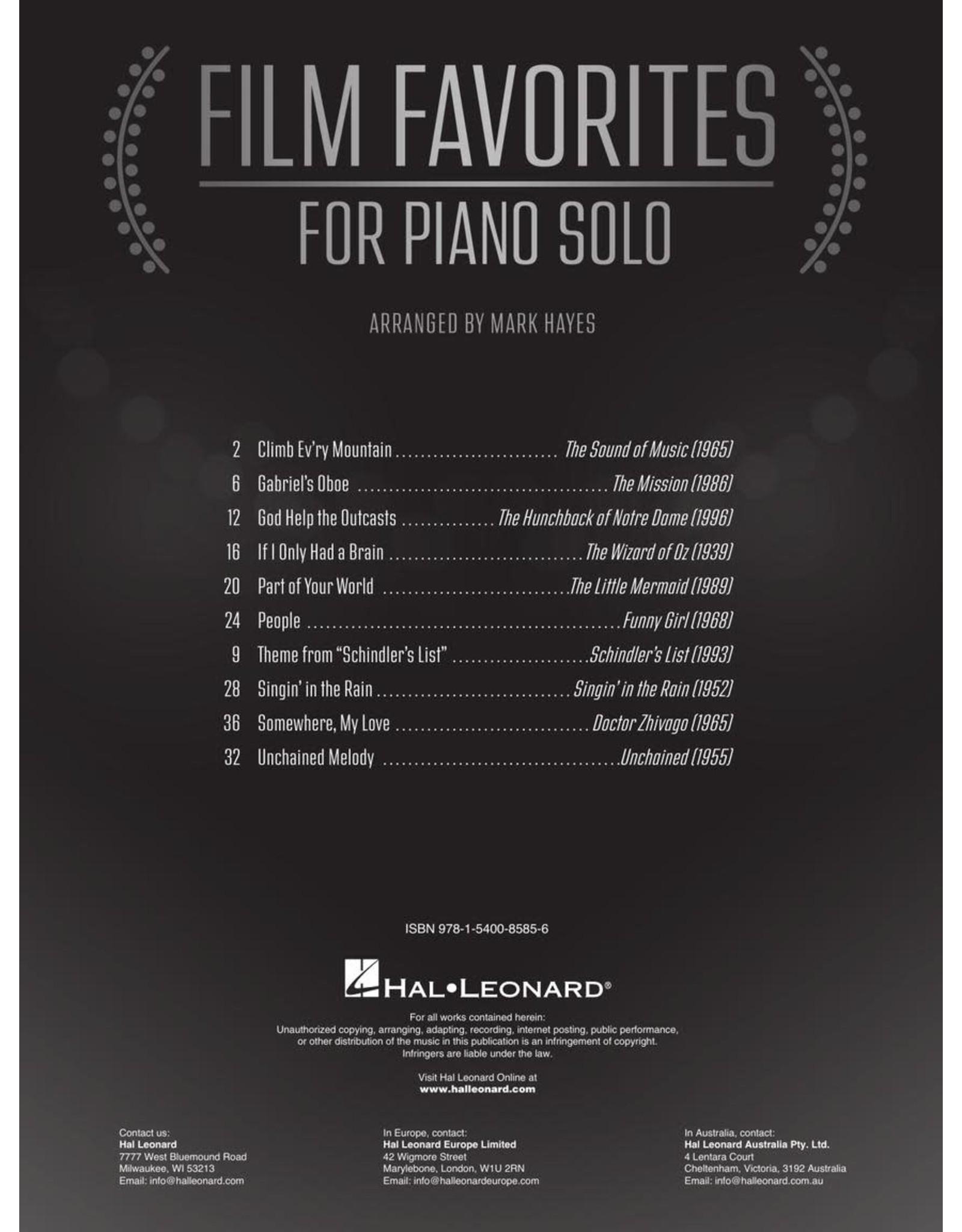 Hal Leonard Film Favorites for Piano Solo arr. Mark Hayes