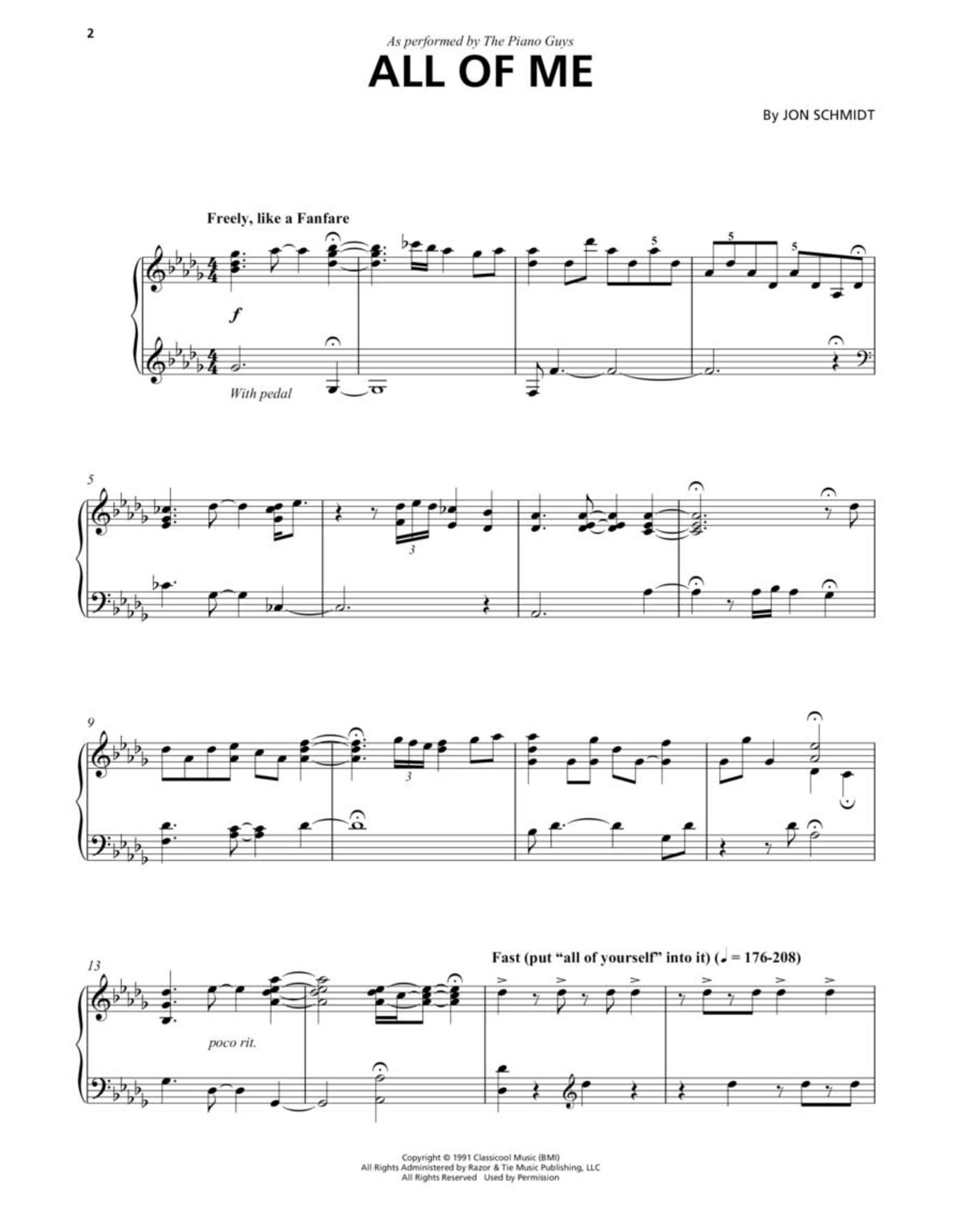 Hal Leonard Piano Guys - Piano Solo with Optional Cello
