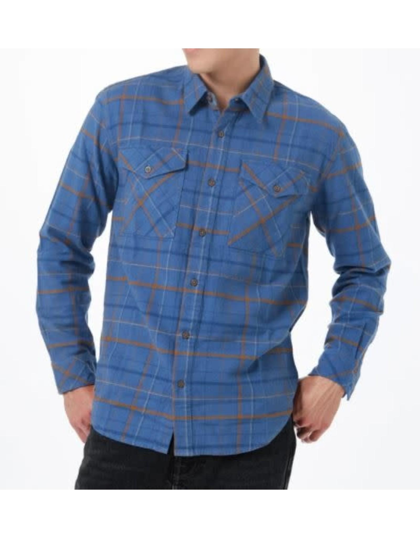 tentree Boren Flannel Shirt Spruce Blue