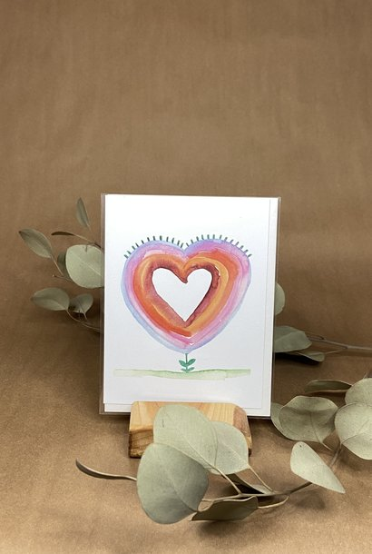Fleur en coeur - Carte