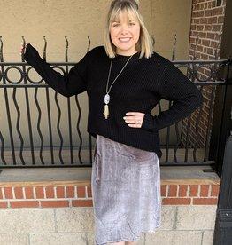 Silver Velvet Midi Skirt