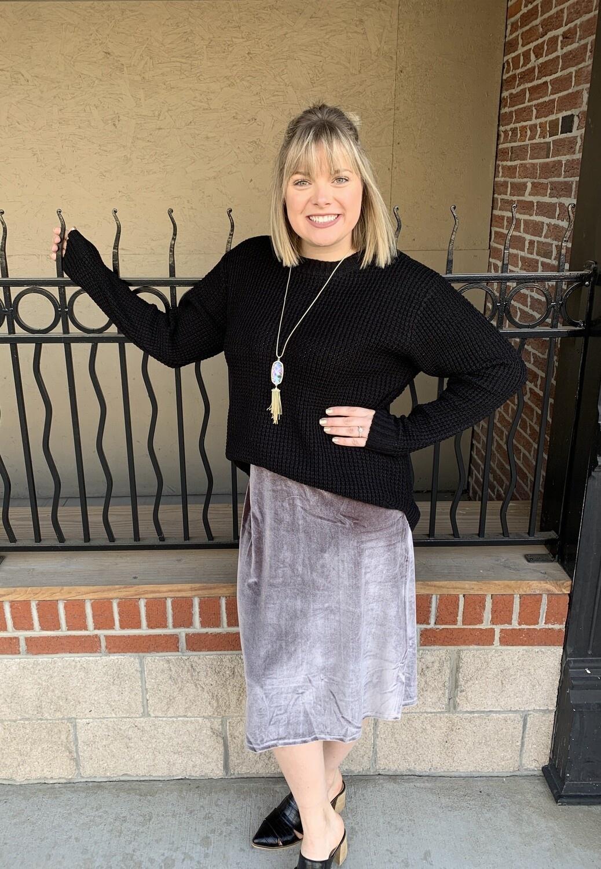 Silver Velvet Midi Skirt Audacious Pittsburg