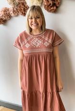 Marsala Embroidered Dress
