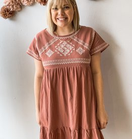 Marsala Embroidered Dress