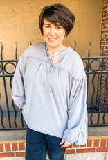 Washed Blue Peasant Top