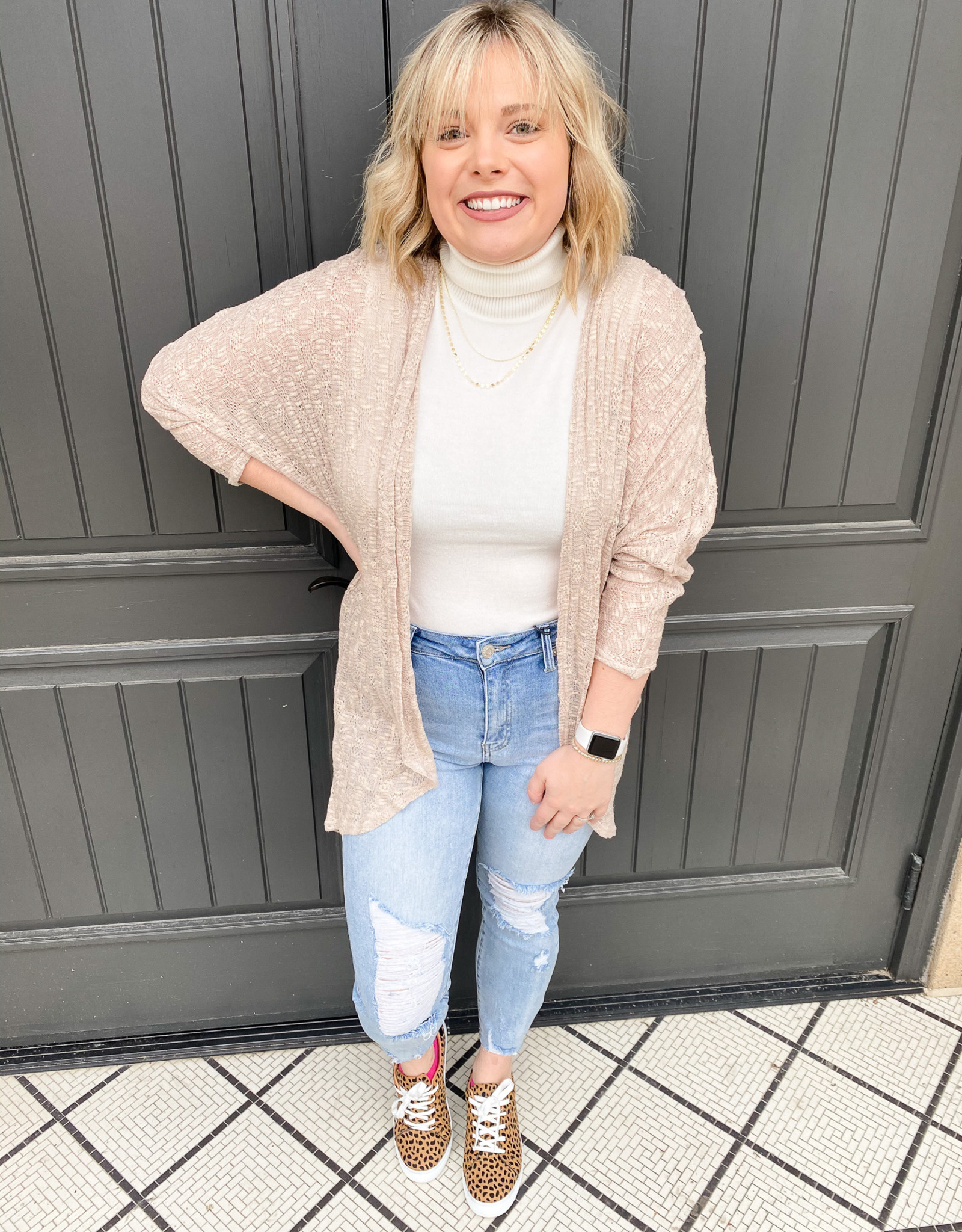 Taupe Open Knit Cardigan