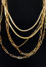Five Layer Gold Chains Necklace