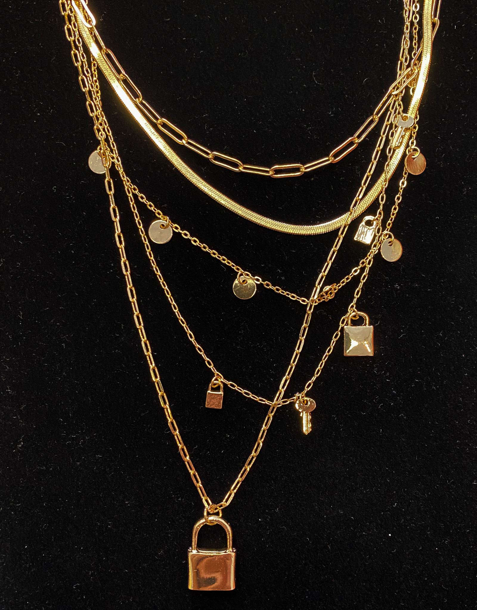 Five Layer Lock & Key Necklace