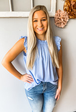 Dotted Chambray Top