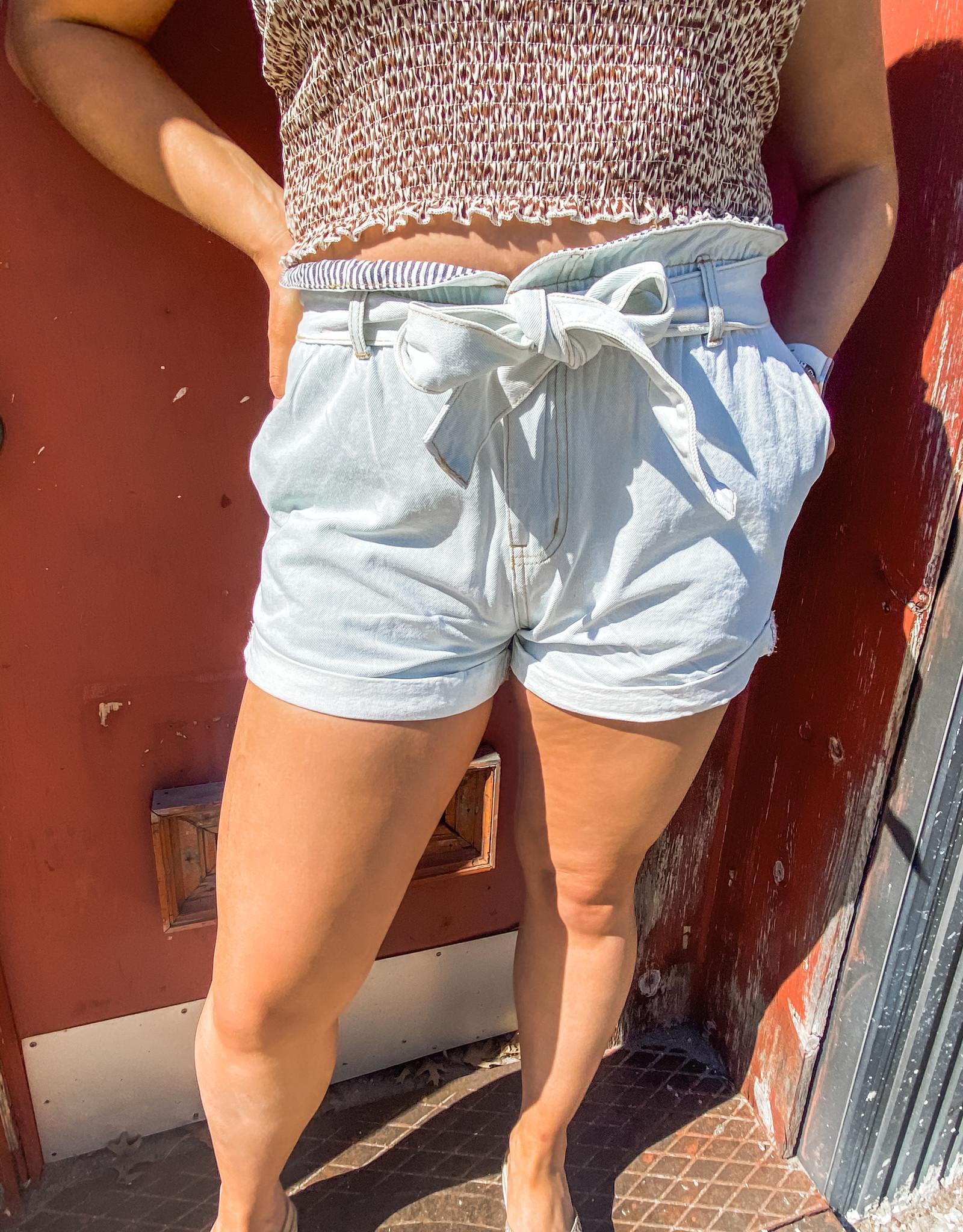 Tie Denim Shorts