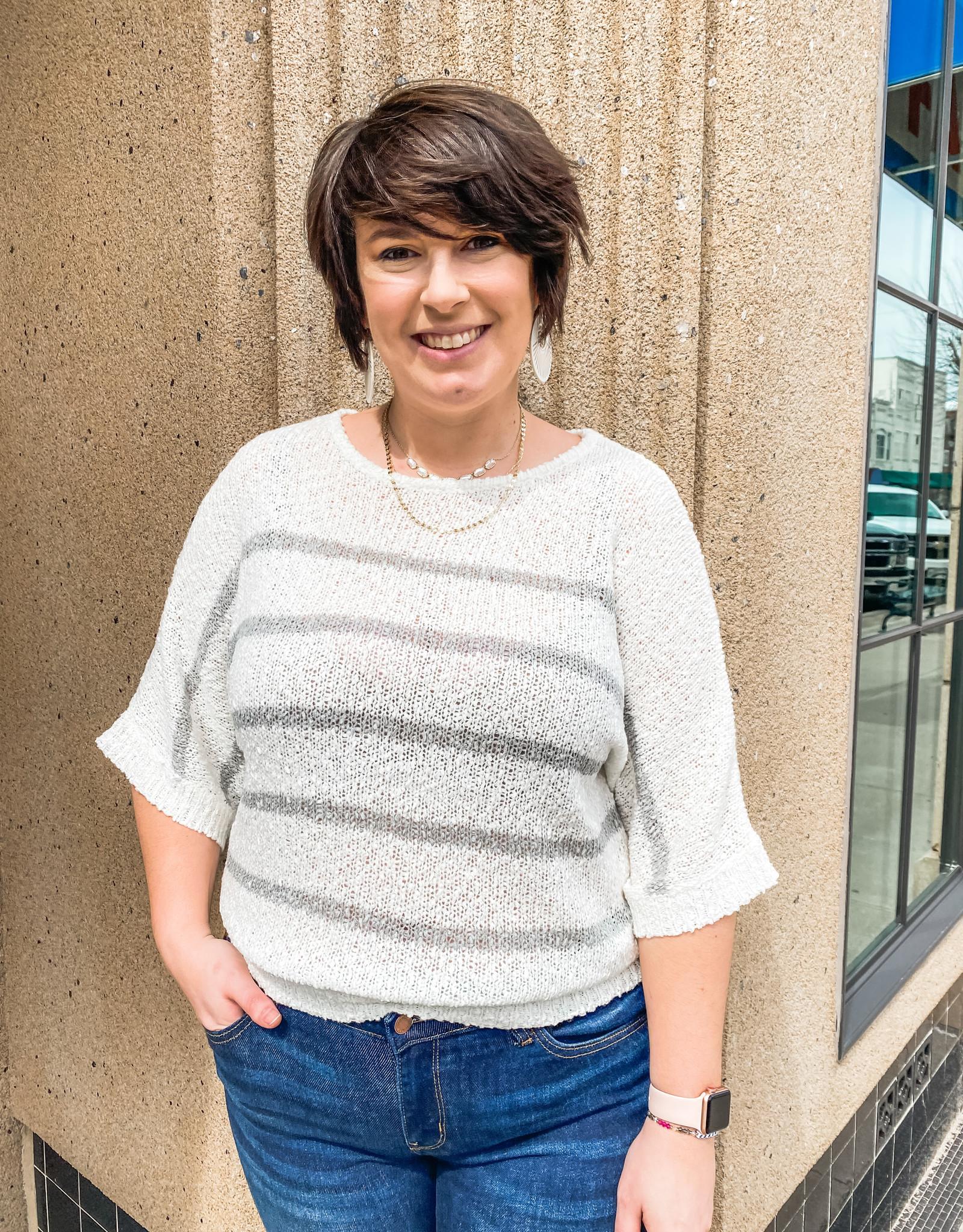 Grey Striped Knit Sweater