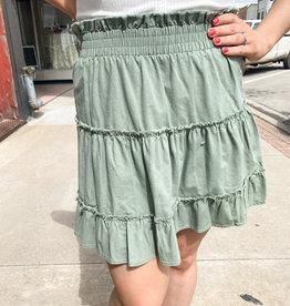 Dusty Sage Ruffle Skirt